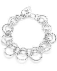 Designs by JAK Sterling Silver Harmony Double Circles Bracelet - Metallic