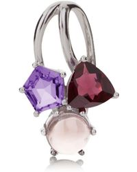 MANJA Jewellery - Kintana Pendant Set With A Rhodolite, Amethyst And Rose Quartz - Lyst