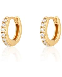 Scream Pretty Gold Plated Huggie Hoop Earrings With Clear Stones - Metallic