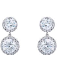 Fantasia by Deserio - Sterling Silver & Palladium Double Round Pave Drop Earrings - Lyst
