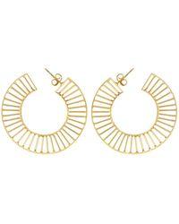 Kastur Jewels Art Deco Grid Loop Earrings - Metallic