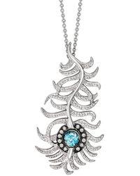 London Road Jewellery Portobello White Gold Diamond And Blue Zircon Peacock Pendant - Metallic