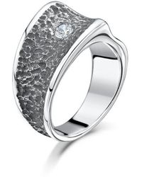 Becky Rowe - Chunky Silver Contrast Cubic Zirconia Ring | - Lyst