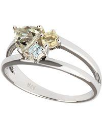 Carolin Stone Jewelry Sterling Silver Green Amethyst Lucid Ring - Uk I - Us 4.5 - Eu 48 - Metallic