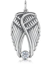 Becky Rowe Silver & Cubic Zirconia Angel Wings Fixed Pendant   - Metallic