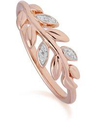 Gemondo Jewellery - 9kt Rose Gold O Leaf Diamond Olive Branch Ring - Lyst