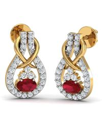 Diamoire Jewels Oval Cut Ruby and Premium Diamonds Earrings 10kt Yellow Gold Sk3fifp