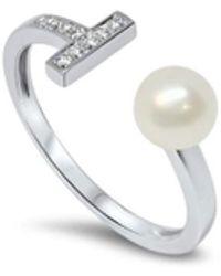 Lesunja Fine Jewellery 18kt White Gold Diamonds & White Pearl River Flows In You Ring