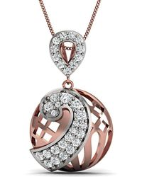 Diamoire Jewels Hand carved 18kt Yellow Gold Pave Pendant With Premium Rubies and Diamonds 2V985