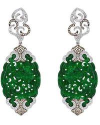 Alexandra Itouna Jadeite Dentelle Earrings - Green