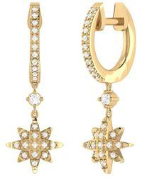 LuvMyJewelry 14kt Yellow Gold Plated North Star Hoop Earrings - Metallic