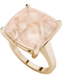 StyleRocks - Morganite Cushion Checkerboard 9kt Rose Gold Ring - Lyst