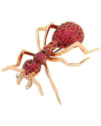 Pinomanna - Rose Gold & Ruby Natural Chic Ant Brooch | - Lyst
