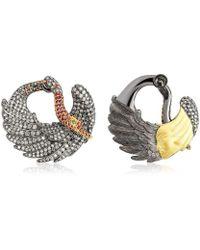 Suciyan - Behind Her Wings Sterling Silver Ruby And Diamond Earrings - Lyst