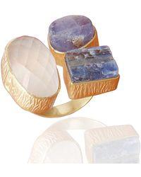 Bhagat Jewels 18kt Gold Plated Tanzanite Crystal Quartz And Kyanite R - Yellow
