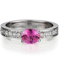 Davidson Jewels 18kt White Gold Aubrey Ring With Pink Sapphire And Diamond