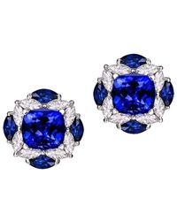 SILVER YULAN - Blue Tanzanite Diamond Studs - Lyst