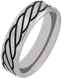 Prism Design - Titanium And Black Rope Ring (6mm) - Lyst