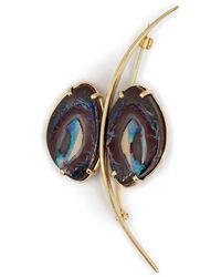 Mara Hotung 18kt Yellow Gold Opal Butterfly Brooch - Metallic