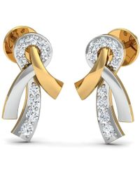 Diamoire Jewels Oval Sapphire and Diamond Ribbon Earrings in 18kt Gold xhrefOqyr