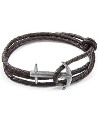 5cf5c996bb81f Anchor   Crew - Brown Admiral Anchor Silver   Braided Leather Bracelet -  Lyst