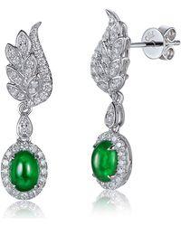 SILVER YULAN - Cabochon Emerald Diamond Wing Earrings - Lyst