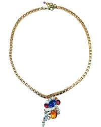 FUCHSIA by Izumi Tahara - Orange Czech Button And Rhinestone Pendant Necklace - Lyst
