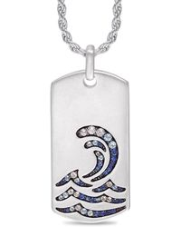 LuvMyJewelry Rhodium Plated Sterling Silver Surfrider Beach White Topaz & Blue Sapphire Stone Tag