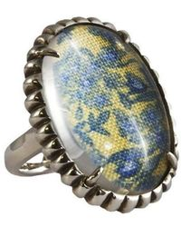 Luke Goldsmith - Silver Womens Material Girl Ring Yellow Floral - Lyst
