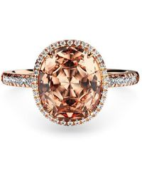 MARCELLO RICCIO 18kt Rose Gold, Diamond & Morganite Ring - Uk D - Us 2 - Eu 41.5 - Metallic
