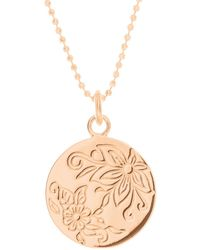 Mantra Jewellery Rose Gold Plated Floral Disc Necklace - Pink