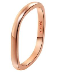 Opes Robur - Rose Gold Plated Silver Stacking Ring - Lyst