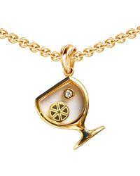 Chekotin Jewellery Gold Wineglass Secret Pendant | - Metallic
