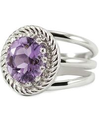 Vintouch Italy Rhodium Plated Silver Luccichio Amethyst Spiral Ring - Metallic