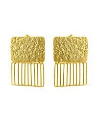 Kastur Jewels Art Deco Grid Rectangle Earrings - Metallic