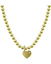 Allumer Alph Necklace - 9kt Yellow Gold Vermeil Diamond Heart - Metallic