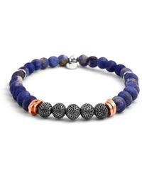 Tateossian - Silver, Rose Gold & Blue Stonehenge Bracelet - Lyst