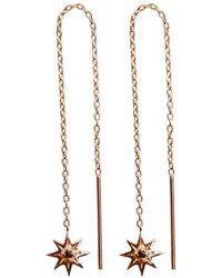 Murkani Jewellery - Rose Gold Plated Falling Star Thread Earrings - Lyst