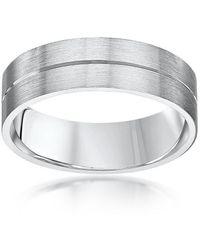 Star Wedding Rings - Palladium Flat Court Shape Matt With Polished Groove 6mm Wedding Ring - Lyst