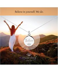 Mantra Jewellery Sterling Silver Believe Disc Necklace - Metallic