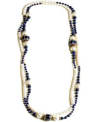 M's Gems by Mamta Valrani - Magnifique Pearl Necklace With Lapiz Lazuli,diamantes And Beads - Lyst