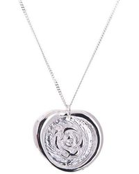 Taylor Black - Silver Rose Wax Seal Necklace - Lyst