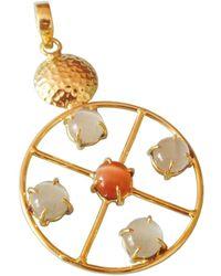 Bhagat Jewels 18kt Yellow Gold Plated Moonstone & Carnelian Circle Pendant