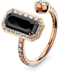 MARCELLO RICCIO 18kt Gold, Diamond & Black Diamond Ring - Metallic