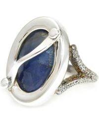 Lisa Robin Ring Oval Blue-grey Color Change Sapphire - 8.5ctw