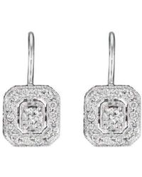 Penny Preville - Engraved Diamond Emerald French Wire Earrings - Lyst