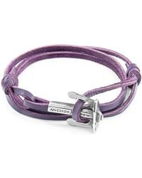 Anchor & Crew Grape Purple Clyde Silver and Leather Bracelet a2KS8q0tmQ