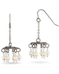 Randi Chervitz - Uncommon Threads Jewelry Sterling Silver Chandelier Earrings With Pearls - Metallic