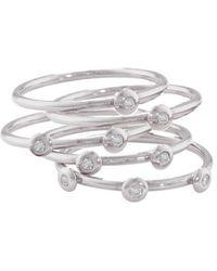 London Road Jewellery Portobello White Gold Diamond 5 Raindrop Stack Rings - Multicolour