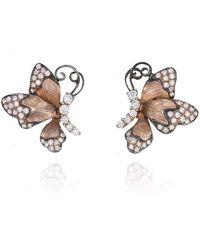Ortaea Fine Jewellery 18kt Rose Gold Jardin Butterfly Earrings With Diamonds - Metallic